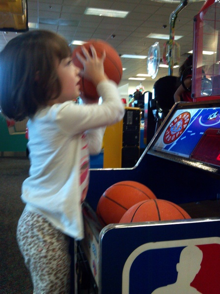 shooting hoops at chuck e cheese